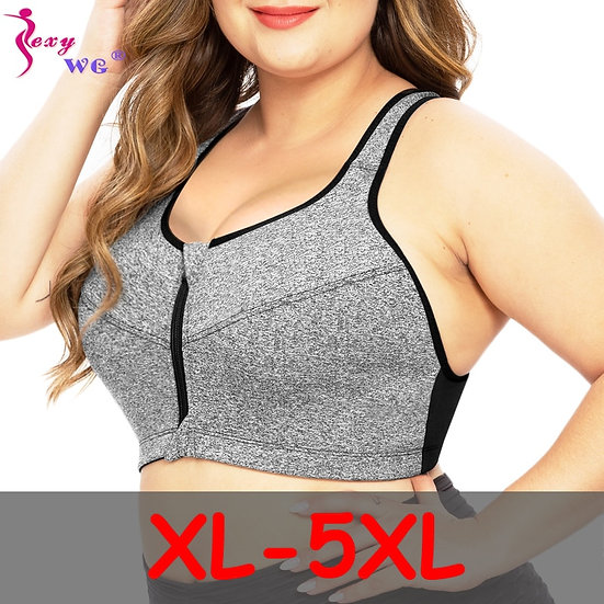 Plus Size Top Women Zipper Sports Bra Underwear Shockproof Push Up Gym Fitness