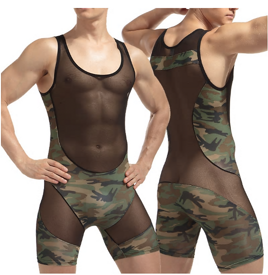 WJ Brand Men Camouflage Bodysuit Perspective Sexy Mesh Patchwork Male Wrestling