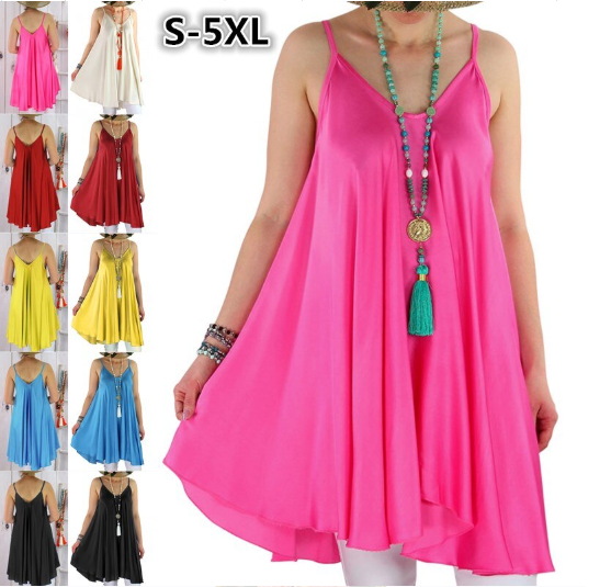 Summer Womens Fashion Sexy Sling Solid Color Plus Size Beach Dress