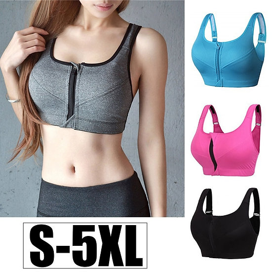 Cloud Hide Sports Bra S-Xxxxxl Women Underwear Fitness Push Up Front Zipper Yoga