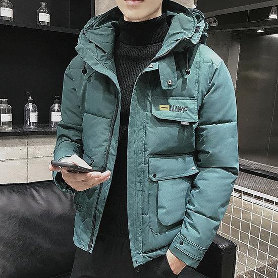 2020 New Winter Men Parka Big Pockets Casual Jacket Hooded Solid Color 5 Colors