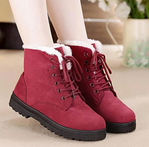 Snow boots 2019 warm fur plush Insole women winter boots square heels flock ankl
