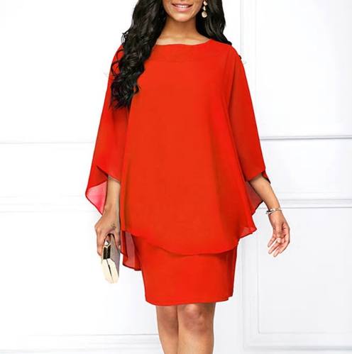 Women Mini Dress Summer Style Solid Color O-Neck Casual Loose Plus Size Dre