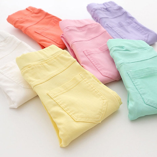 High Quality Spring Summer Fashion Children Candy Color Pencil Girls Pants