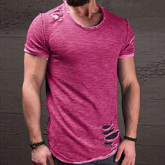 2018 Fashion Summer Ripped Clothes Men Tee Hole Solid T-Shirt Slim Fit O Neck