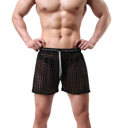 Men's Casual Shorts Men's Fashion Style Breathable Shorts Sexy Hollow Mesh Short
