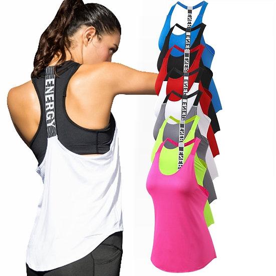 Women Yoga Shirts T-Backless Loose Sleeveless Sports Shirts Fitness Workout Crop