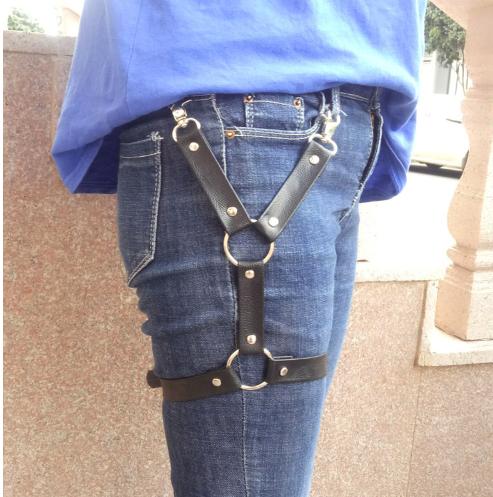 New men women Cross Leather metal ring Leg Belt Harness Body Bondage Stocking Su