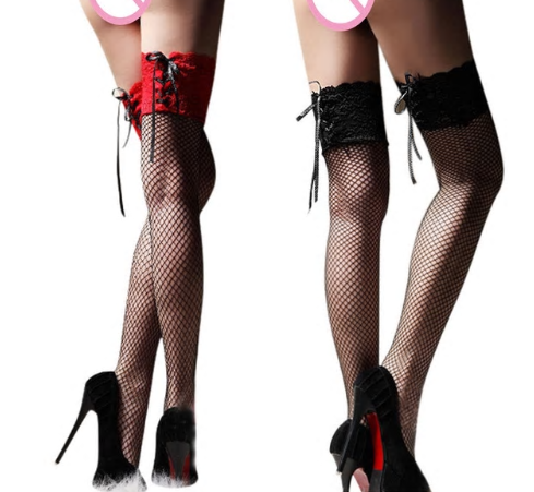 Women's Sexy Fishnet Stocking Thigh High Sheer Lace Top Sexy Stockings Hosiery N