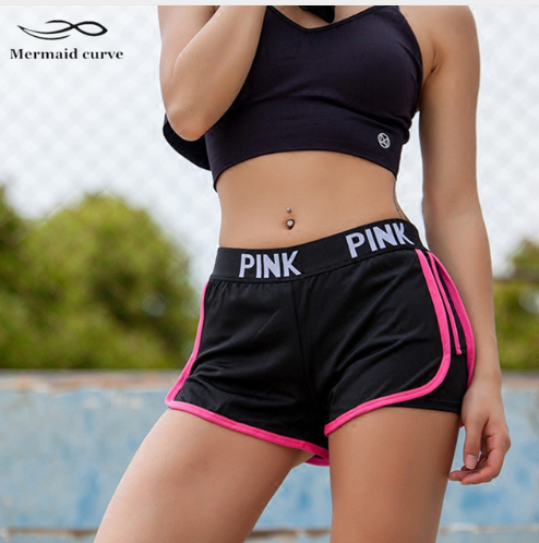 2017 Letter PINK Sports Gym Shorts Women Yoga Shorts Push Hips Sexy Middle Waist