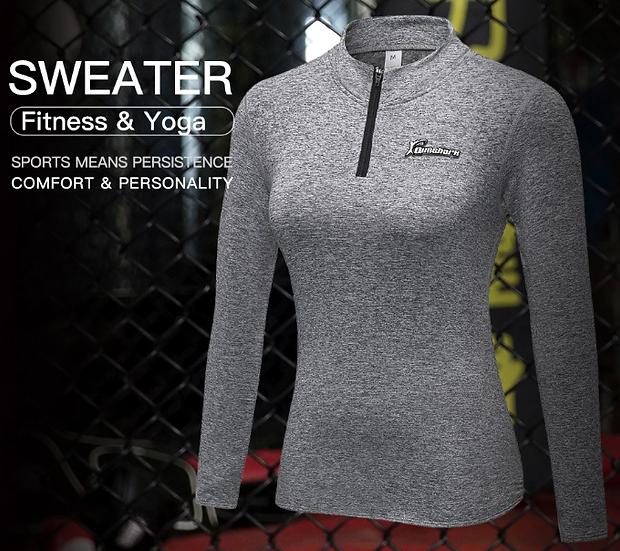 Winter Fleece Mandalin Collar Running Jacket Yoga Shirt Fitness Long Sleeve Neck