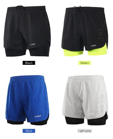 Lixada Men's 2 in 1 Running Shorts Mens Sports Shorts Quick Drying Training Exer