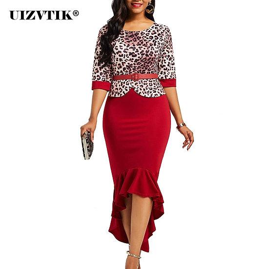 Leopard Ruffles Summer Dress Women 2021 Spring Vintage Bandage Sexy Long Party