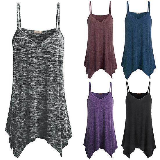 Plus Size S - 5XL Women Irregular Summer Loose v Neck Cami Tank Tops Vest Blouse