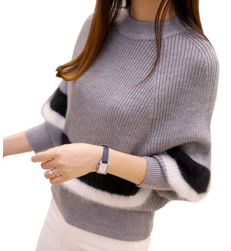 2018 New Winter Women Sweaters Fashion O-Neck Batwing Striped Pullovers Plus Siz