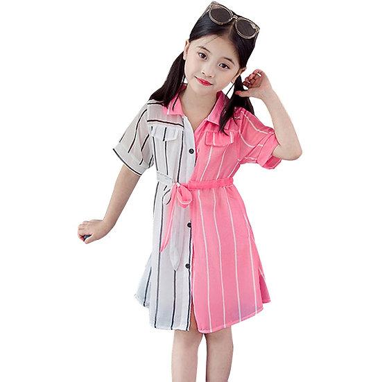 Girls Summer Dress Striped Blouse Dress for Girl Patchwork Kid Shirt Dress
