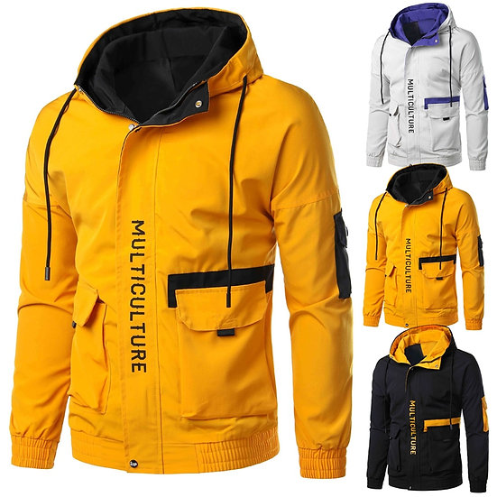 Autumn Mens Casual Jacket Lightweight Windbreaker With Hood Safari Style Korea