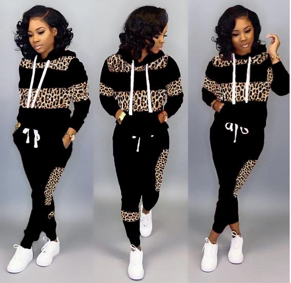 Women Fall Winter Leopard Pathwork Hooded Long Sleeve Sweatshirts Hoodies Warm P