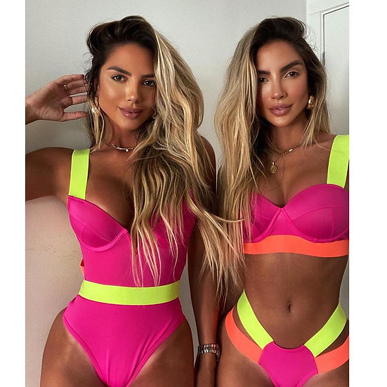 2021 New Sexy Bikini Black Push Up Swimsuit Women Swimwear Splicing Bathing Suit