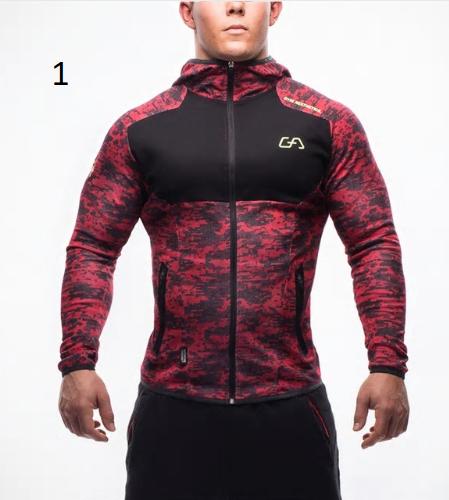 Men fitness bodybuilding Camouflage sweatshirt Hoodie Gyms workout Hooded zipper