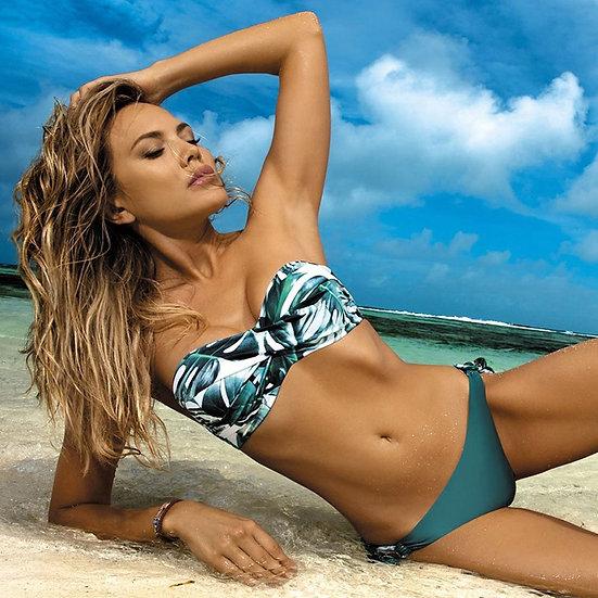 Bikinis Set Leaves Print Bikini Swimsuit Women Push Up Bikini Sets Bandeau