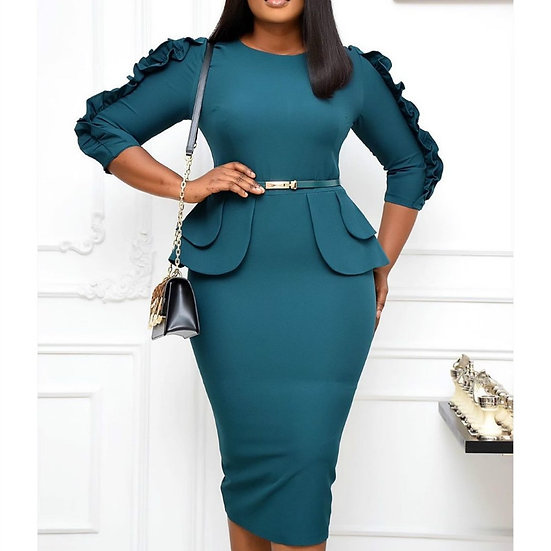 Women Bodycon Dresses Slim Ruffles Elegant Office Ladies Work Wear Autumn Fashio