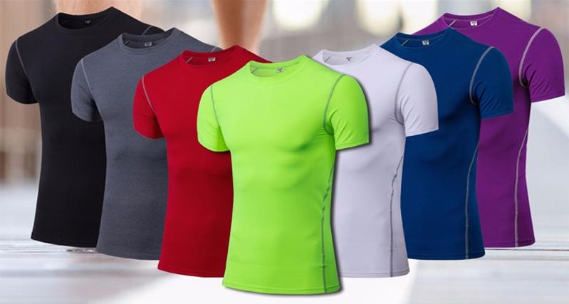 Yuerlian Quick Dry Compression Men's Short Sleeve T-Shirts Running Shirt Fitness