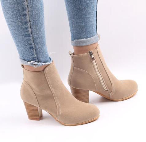 LZJ 2018 Women Boots Flock Ankle Boots Spring Autumn Women Boots Ladies Party We