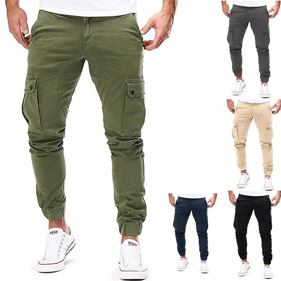 New Men Joggers Pants Solid Color Cargo Military Sweatpants Multi-Pocket Spring