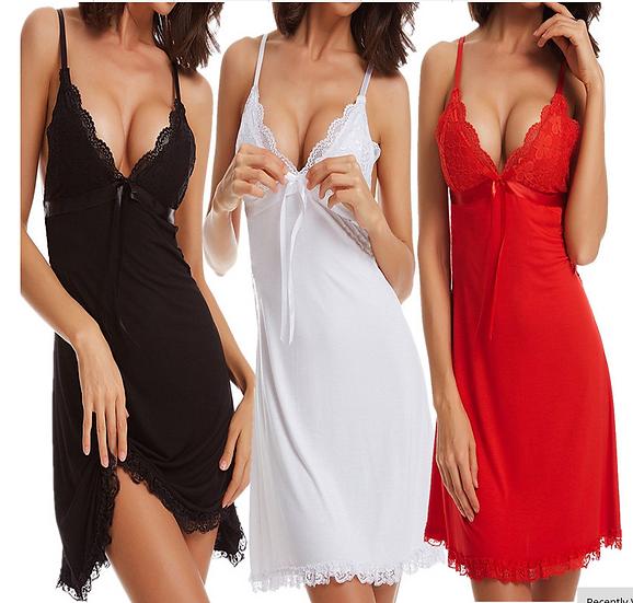 New Women Nightgowns Sexy Lingerie Spaghetti Strap Sleeveless Silk V-Neck Backle