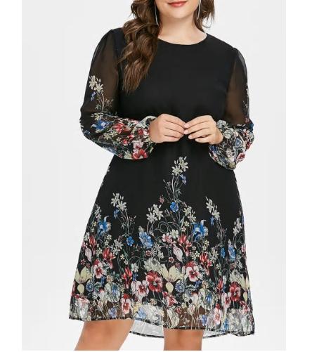 Plus Size 5XL Floral Print Chiffon Dress Women New Autumn Long Sleeve Casual Dre