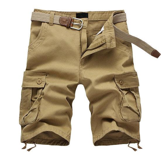 2020 Summer Men's Baggy Multi Pocket Military Cargo Shorts Male Cotton Khaki