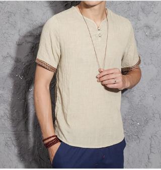 2020 Summer Fashion Mens Casual Linen Shirts Short Sleeve V Neck White Basic Blo