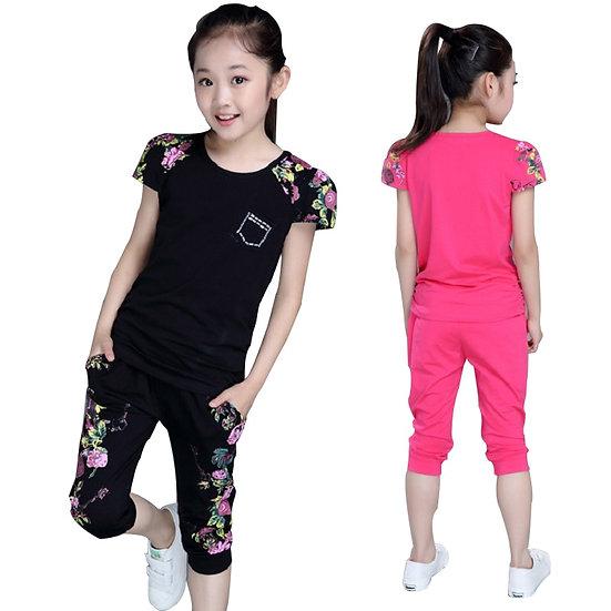 Children Clothing Sets Summer Girls Sports Suit Cotton Print Short Sleeve