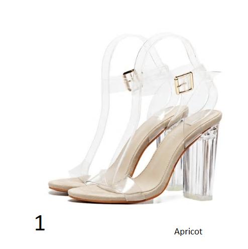 Eilyken PVC Jelly Sandals Crystal Leopard Open Toed High Heels Women Transp