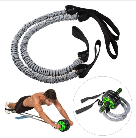 Fitness Abdominal Wheel Roller Resistance Band Ropes AB Exercise Trainer Assista