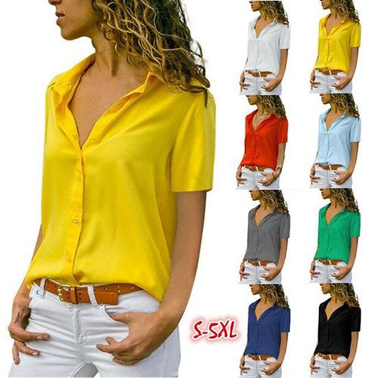 Elegant Lapel Office Lady Work Wear Shirt Women Solid Short Sleeve Chiffon
