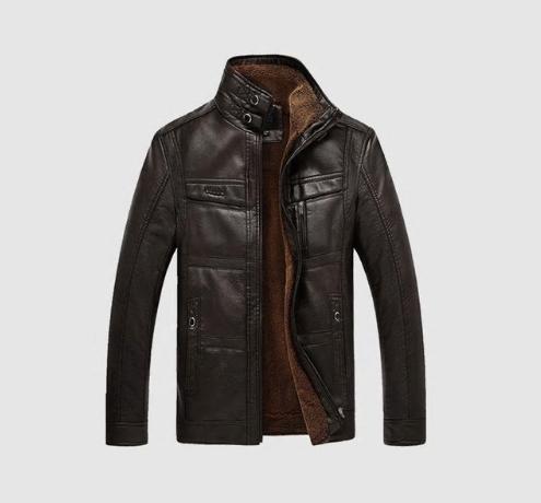 CARANFIER Mens Leather Jackets Winter Warm Coat Plus Thick Outerwear Male Biker