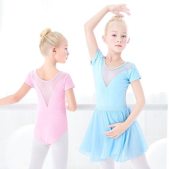 Girls Ballet Leotard Mesh Splice Gymnastics Leotard Toddler Children Short