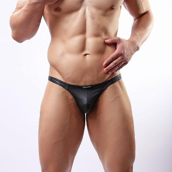 Sexy Lingerie Men's Underwear Faux Leather Black G-String Thongs Underpants