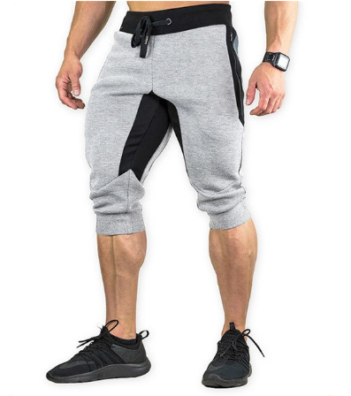 Men's Cotton Casual shorts 3/4 Jogger Capri Pants Breathable Below Knee Short Pa
