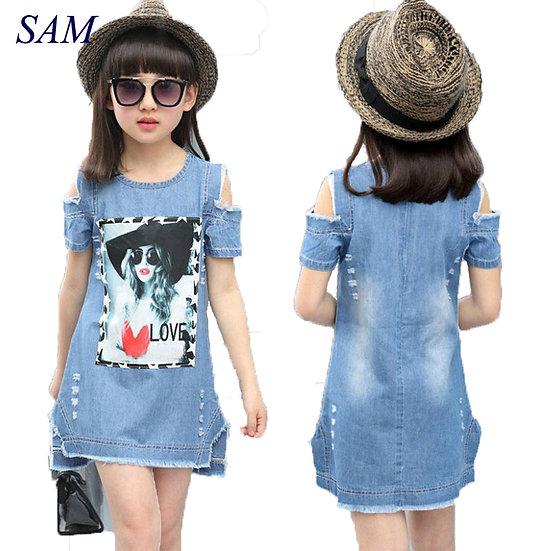 Children Dresses for Girls Denim Dress Summer Strapless Dress Pattern Girls