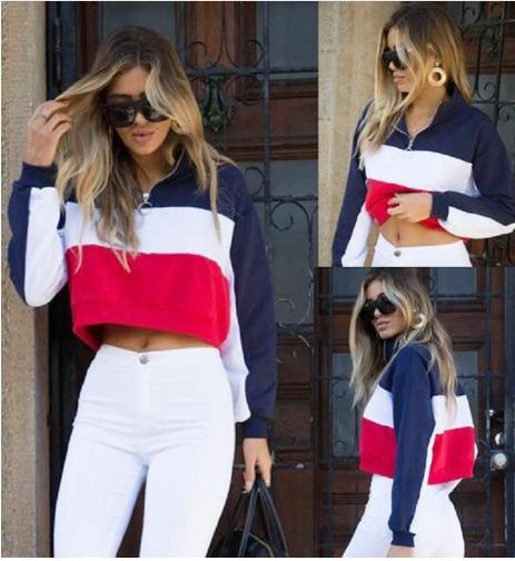 Casual Brand Women Crop High Collar Top Long Sleeve Coat Sport Pullover Zip Cott