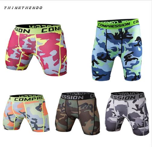 THINKTHENDO Skinny Men's Sports Gym Compression Wear Under Base Layer Shorts Pan