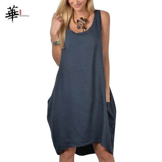 Tank Summer Dress Loose Vintage Midi Dress Sleeveless Woman Dress Plus Size