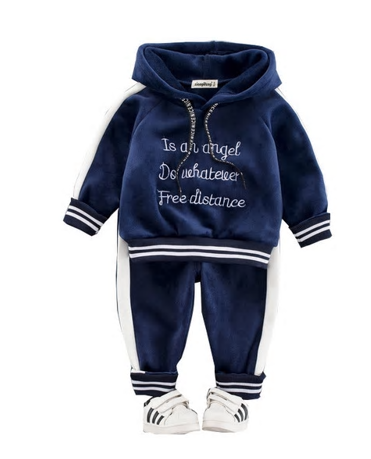 Autumn Winter Baby Girls Boys Clothing Sets Kids Casual Letter Hooded Thick