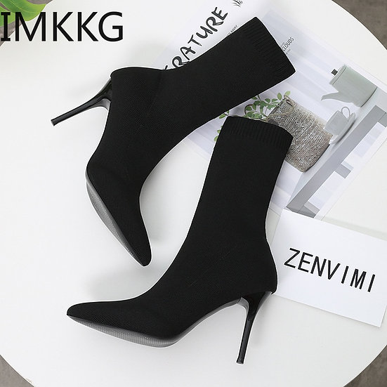 Sexy Sock Boots Knitting Stretch Boots High Heels for Women Fashion Shoes