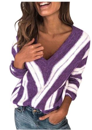 Jaycosin Sweater Women V Neck Autumn winter Knitwear Tops Casual Long Sleeve Jum