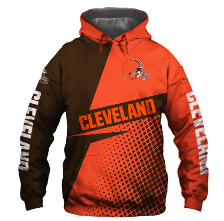 Usa Size Autumn Male Casual Hoodies Cleveland 3d Print Football Loose Sweatshirt
