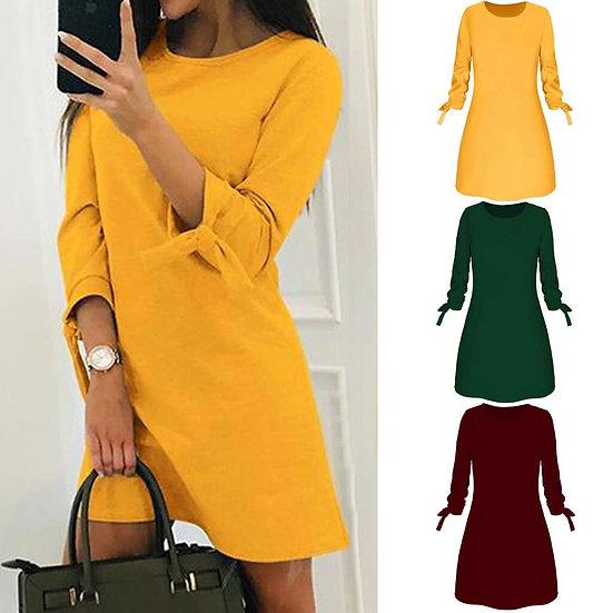 Spring  Dress Women Fashion Casual O-Neck Solid 3/4 Sleeve Bow Elegant Straigth